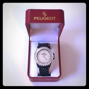 Peugeot Black Acrylic Bracelet Watch